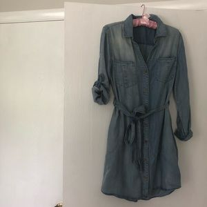 Cotton jeans shirt dress with long sleeves